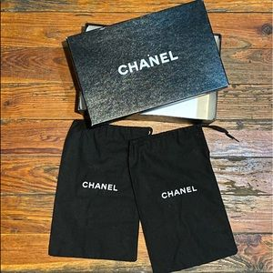 Chanel Shoe Box With 2x Duster Bags